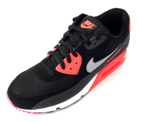 best loved 9a1b8 30009 Nike Mens Air Max 90 Essential Running Shoes Black Wolf Grey Atomic Red  537384-006 Size 11.5 .