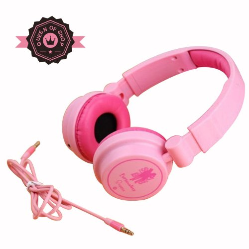 Queen Ke600 Pink Adjustable Circumaural Over Ear Round Candy Colorful Earphone Headphone For Pc Mp3 Mp4 Ipod Iphone Ipad Tablet - Red Gift For Girl