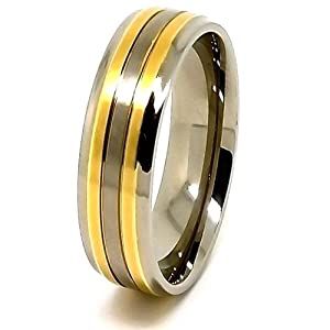 7mm Titanium Ring with Double Gold Plated Lines Wedding Band Size P 1/2