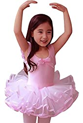 CM-Kid Little Girls' Short Sleeve Tiered Tutu Ballet Party Dresses 2-6Y
