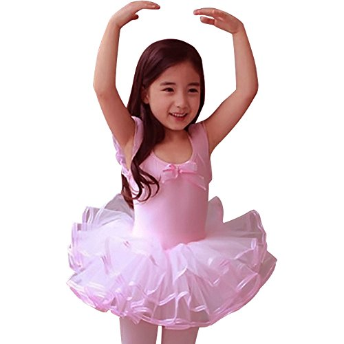 DD-CM Little Girls' Short Sleeve Layered Ballet Dance Costume Tutu Dress