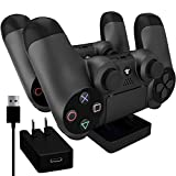 Ortz® PS4 Charging Station + FREE 10ft USB Cable w/ AC Adapter Included - Best Charger Dock Stand Base - Charge Playstation 4 Controllers - Works with PS4 Dual Shock Wireless Controller - 1 YEAR WARRANTY