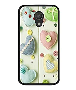 printtech Hearts Buttons Back Case Cover for Motorola Moto G2 X1068 , Motorola Moto G (2nd Gen)