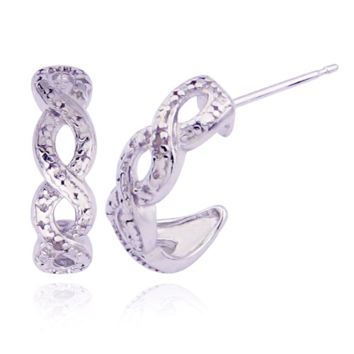 Platinum Plated Sterling Silver Genuine Diamond Accent Figure 8 Post Earrings