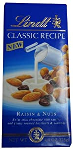 Lindt Swiss Milk Chocolate, Raisin and Nuts, 4.4oz (125g)