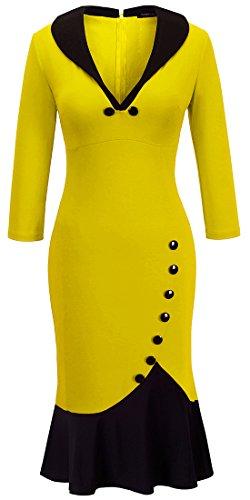 homeyee-womens-v-neck-ball-fishtail-pencil-mermaid-dress-kb27-18-yellow