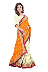 Sangeeta Textiles Net,Chiffon Saree(SAN676-C_Orange)