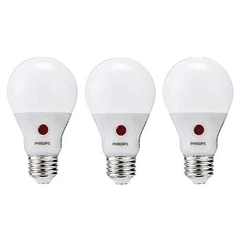 Philips LED A19 Indoor/Outdoor Light Bulb with Dusk to Dawn Sensor--800-Lumen, 2700-Kelvin, 8-Watt (60-Watt Equivalent), E26 Medium Base, Non-Dimmable, Soft White, 3-Pack