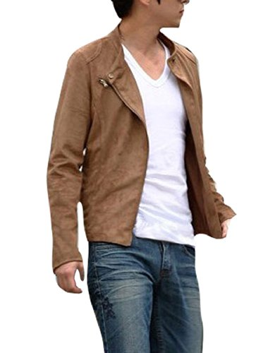 Men Long Sleeve Stand Collar Zippered Suede Jacket Camel S back-1027672