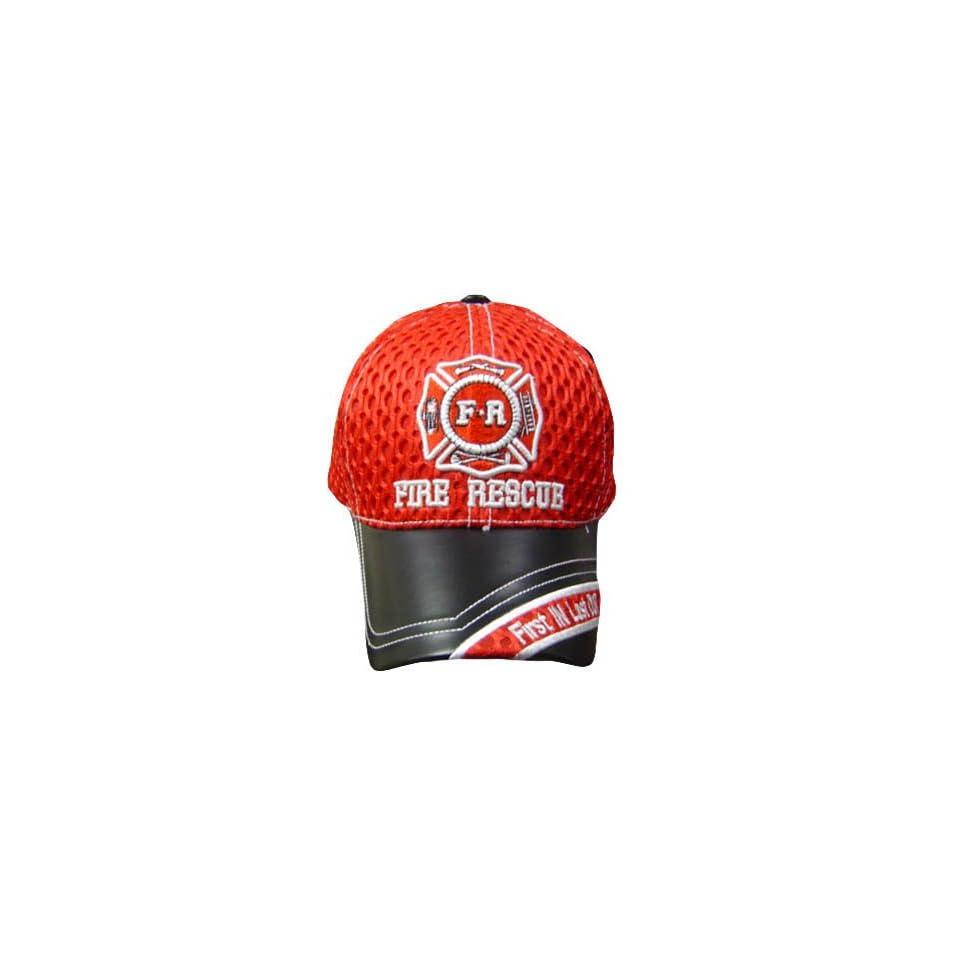 FIRE RESCUE RED FD MESH BLACK LEATHER BRIM CAP HAT OSFA