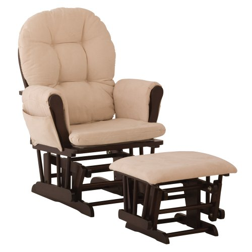 glider stork craft hoop glider rocker and ottoman espresso beige