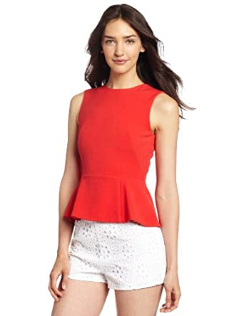 French Connection Women's Coco Crepe Top, Red, 0
