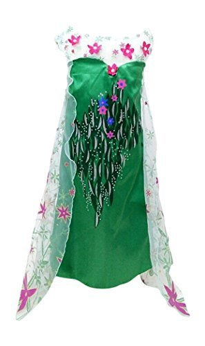 New Spring Elsa Dress Deluxe Costume with Glittering Flower Cape