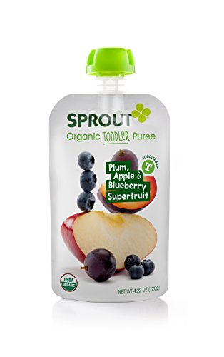 Sprout Organic Foods, Toddler Pouch, Plum, Apple & Blueberry Superfruit, 4.22 Ounce (Pack of 5)