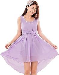 Dress({Choice Fashion_Purple_Large_Embroidery_Georgette_Women's Dress})