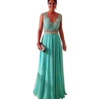 Amazon.com: Popular V-neck Lace Vestidos De Chiffon Floor Leength Prom