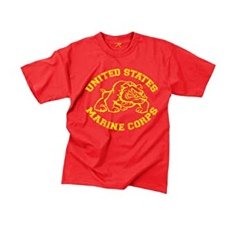 Red Vintage USMC Officially Licensed Bulldog T-Shirt (Small)