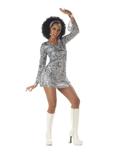 California Costumes Women's Disco Diva Costume Dress with Head Wrap