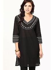 Vedanta Women's South Cotton Kurti (Black) - B00MGHUXIY