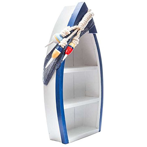 Standing Blue & White Boat Shelf with Buoy Accents