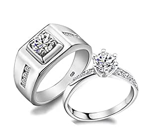 Amazon.com: MasterGem Love Crystal Stone Silver Engagement