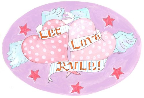 The Kids Room by Stupell Let Love Rule with Hearts Oval Wall Plaque