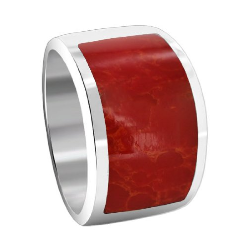 Sterling Silver 11 x 25mm Simulated Coral Inlay 6mm Band Ring
