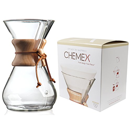 Chemex Classic Wood Collar and Tie Glass 8-Cup Coffee Maker with 100 Count Bonded Circle Coffee Filters