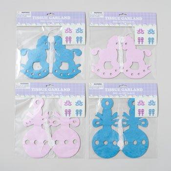 Tissue Garland Baby Shower 12Ft 2 Designs Pink Or Blue, Case Pack Of 48