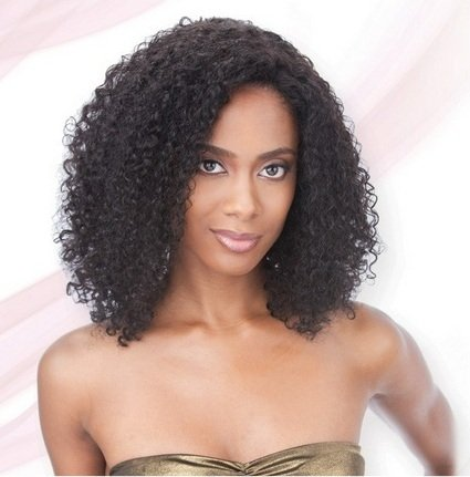 Affordable Saga Indian Remy Lace Front Wig Jerry Curl 1b