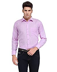Ausy Full Sleeve Pink Mens Formal Shirt
