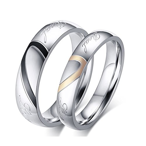 ROWAG Black 5MM Men Heart Shape Titanium Stainless Steel Couple Wedding Bands for Him and Her Pink 4MM Women Promise Engagement Rings (Platinum Wedding Band Couple compare prices)