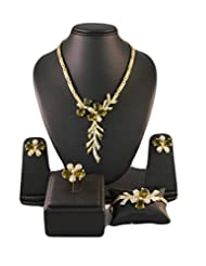 Green Crystals Stylish Jewellery Set With Ring