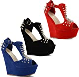 New Ladies Medium Wedge Heels Smart Stylish Slip On Court Shoes Size UK 3-8