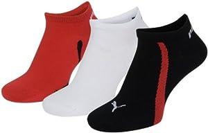 Puma Lifestyle - Chaussettes de Sport - Lot de 3 - Graphique - Mixte Adulte - Noir/Blanc/Rouge - 35