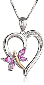 """XPY Sterling Silver and 14k Rose Gold Created-Pink Sapphire and Diamond-Accent Butterfly Heart Pendant Necklace, 18"""""""