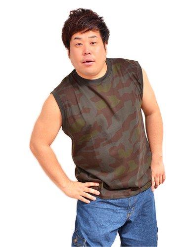 AIR WALK(エアウォーク) 迷彩柄ノースリーブ Tシャツ 2L カーキ