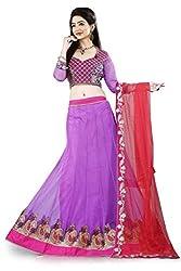 Lehenga Choli Light Purple Colour Fully Stitched Free Size Net Lehenga by Pushpila