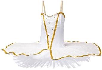 Sansha Big Girls' Sabrina Performance Leotard w/ Tutu, White/Gold, X-Large