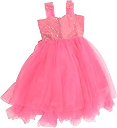 Kanchoo Girls' Long Frock (BSKF008_4-5years, Pink, 4-5years)