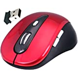 Daffodil WMS320 Wireless Optical Mouse 2.4GHz - Cordless 5 Button PC Mouse with Scrollwheel and Adjustable Sensitivity (MAX 1600dpi) - For Laptop / Netbook / Desktop Computers - Supported by: Microsoft Windows (8 / 7 / XP / Vista) and Apple MAC (OS X +) - Battery Powered (2xAAA Inc.) (Red)