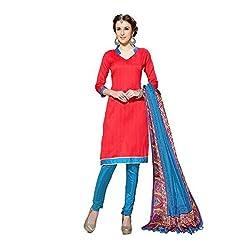 Varanga Red Indian Dress Material With Matching Dupatta KFSNR1005