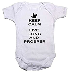 Baby Grow Star Trek Inspired Keep Calm... Live Long And Prosper