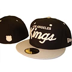 Los Angeles LA Kings Black New Era 5950 Fitted Baseball Cap Hat Size 7 1 4 by MLB Snap Back Caps