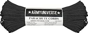 Black 550LB Military 100% Nylon Parachute Cord 100 Feet
