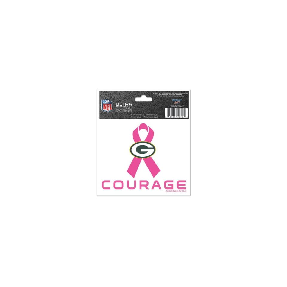 01adc138f49 Green Bay Packers Courage Breast Cancer Awareness Campaign Ribbon Decals