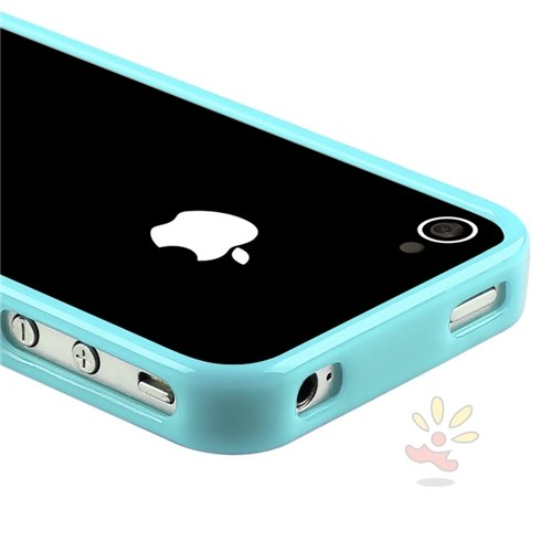 Shiny Blue TPU Rubber Bumper Case for Apple® iPhone® 4 / 4S