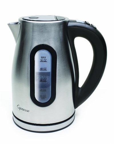 Capresso 276.04 H2O Pro Programmable Cordless Water Kettle, Brushed Stainless Steel front-602724