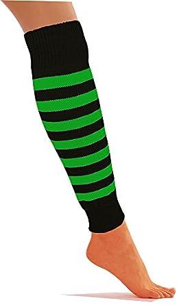 RICH KNITTED NEON COLOUR STRIPED KNIT LEG WARMERS LONG FANCY DISCO PARTY DRESS.0 (Black & Green)