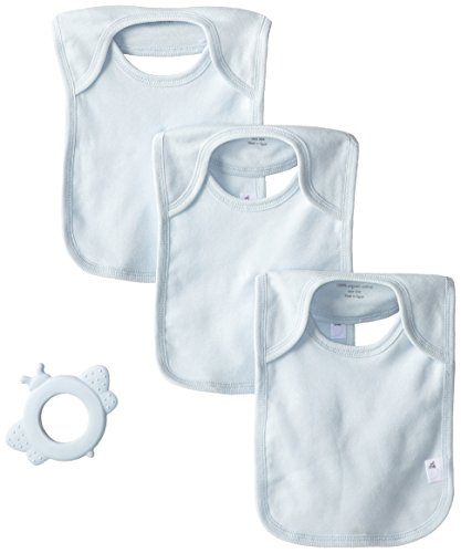 Burt's Bees Baby-Boys Organic Set of 3 Bee Essentials Lap Shoulder Bibs with Rubber Bee Teether